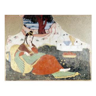 Mujer en el jardín de Shah Abbas I Tarjetas Postales