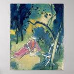 Mujer en el jardín posters