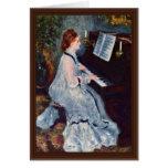 Mujer en el piano de Pierre-Auguste Renoir Tarjeton