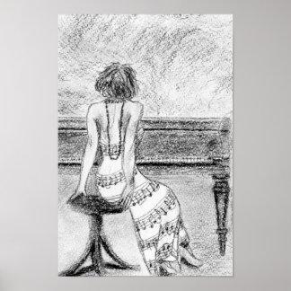 Mujer en el piano póster