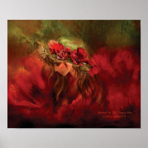 Mujer en el poster/la impresión del arte del gorra