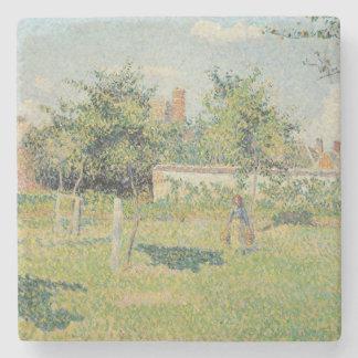 Mujer en el prado en Eragny, primavera, 1887 Posavasos De Piedra