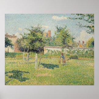 Mujer en el prado en Eragny, primavera, 1887 Póster