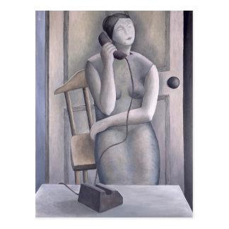 Mujer en el teléfono 1995 tarjeta postal