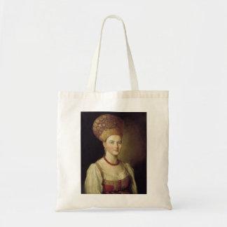 Mujer en el traje ruso 1784 bolsa tela barata