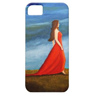 Mujer en el vestido rojo iPhone 5 Case-Mate cárcasa