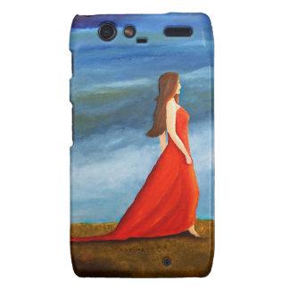 Mujer en el vestido rojo motorola droid RAZR funda