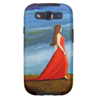Mujer en el vestido rojo galaxy s3 protectores