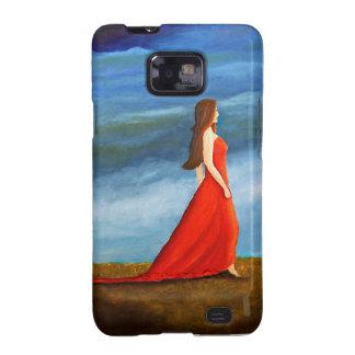 Mujer en el vestido rojo samsung galaxy SII funda