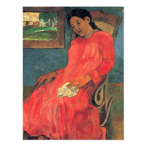 Mujer en el vestido rojo - Paul Gauguin Postales
