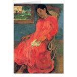 Mujer en el vestido rojo - Paul Gauguin Tarjetas