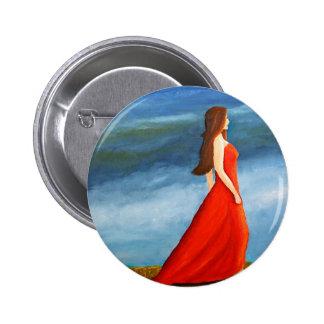 Mujer en el vestido rojo pins