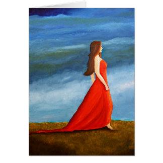 Mujer en el vestido rojo felicitación