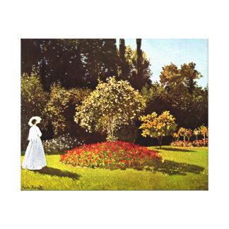 Mujer en la bella arte de Monet del jardín Impresión En Lona Estirada