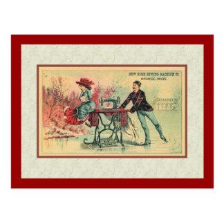Mujer en la máquina de coser en el hielo postales