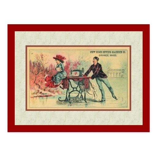 Mujer en la máquina de coser en el hielo tarjeta postal