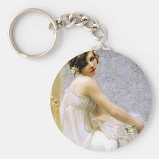 Mujer en la pintura blanca del vestido llavero