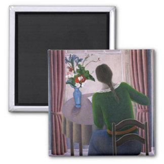 Mujer en la ventana 1998 imán cuadrado