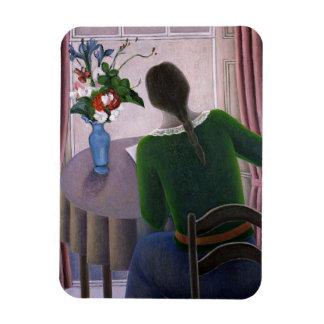 Mujer en la ventana 1998 imán foto rectangular