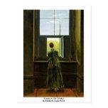 Mujer en la ventana por Friedrich Caspar David Tarjetas Postales