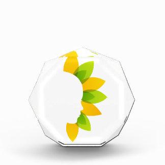Mujer en las hojas del verde y del amarillo
