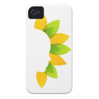 Mujer en las hojas del verde y del amarillo funda para iPhone 4