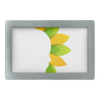 Mujer en las hojas del verde y del amarillo hebilla cinturón rectangular