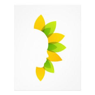 Mujer en las hojas del verde y del amarillo membrete personalizado