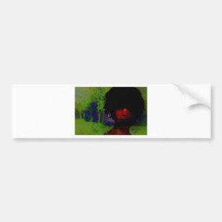 Mujer en las maderas oscuras pegatina de parachoque