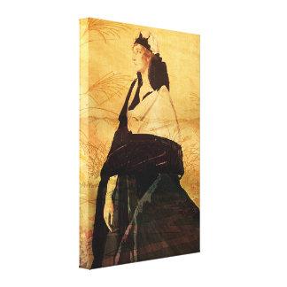 Mujer en negro impresiones en lona estiradas