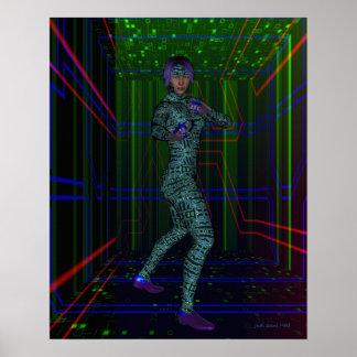 Mujer en paso cibernético poster