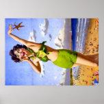 Mujer en poster verde del bikini