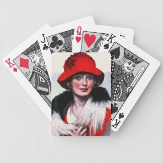 Mujer en Red Hat Baraja De Cartas