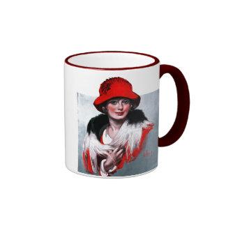 Mujer en Red Hat Taza