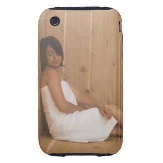 Mujer en sauna iPhone 3 tough protector