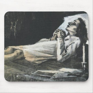 Mujer en su bella arte de Van Gogh del lecho de Tapetes De Raton