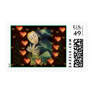 Mujer en sueño sellos