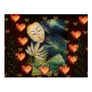 Mujer en sueño tarjeta postal