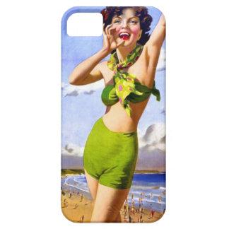 Mujer en traje de baño en la playa funda para iPhone SE/5/5s