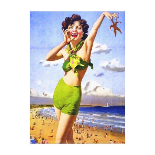 Mujer en traje de baño en la playa impresion de lienzo