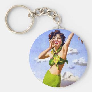 Mujer en traje de baño en la playa llavero personalizado