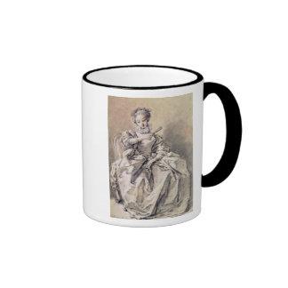 Mujer en traje español taza de café