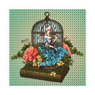 Mujer en un collage de la jaula impresion de lienzo