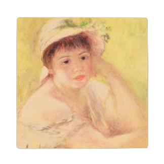 Mujer en un gorra de paja, 1879 posavasos de madera