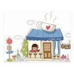 Mujer en una cafetería tarjeta postal