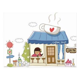 Mujer en una cafetería postales