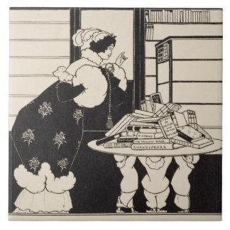 """Mujer en una librería, diseño para un """"libro amari azulejo cuadrado grande"""