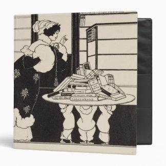 """Mujer en una librería, diseño para un """"libro carpeta 1 1/2"""""""