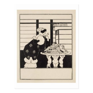 """Mujer en una librería, diseño para un """"libro postales"""