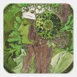 Mujer en verde - LAUREL Calcomanía Cuadradas Personalizada